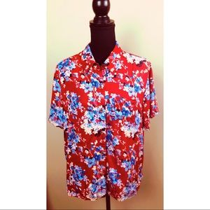 Crazy Horse red floral button up shirt